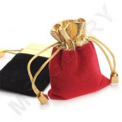 мешочек для флешки бархатный с золотом (красного или синего цвета)